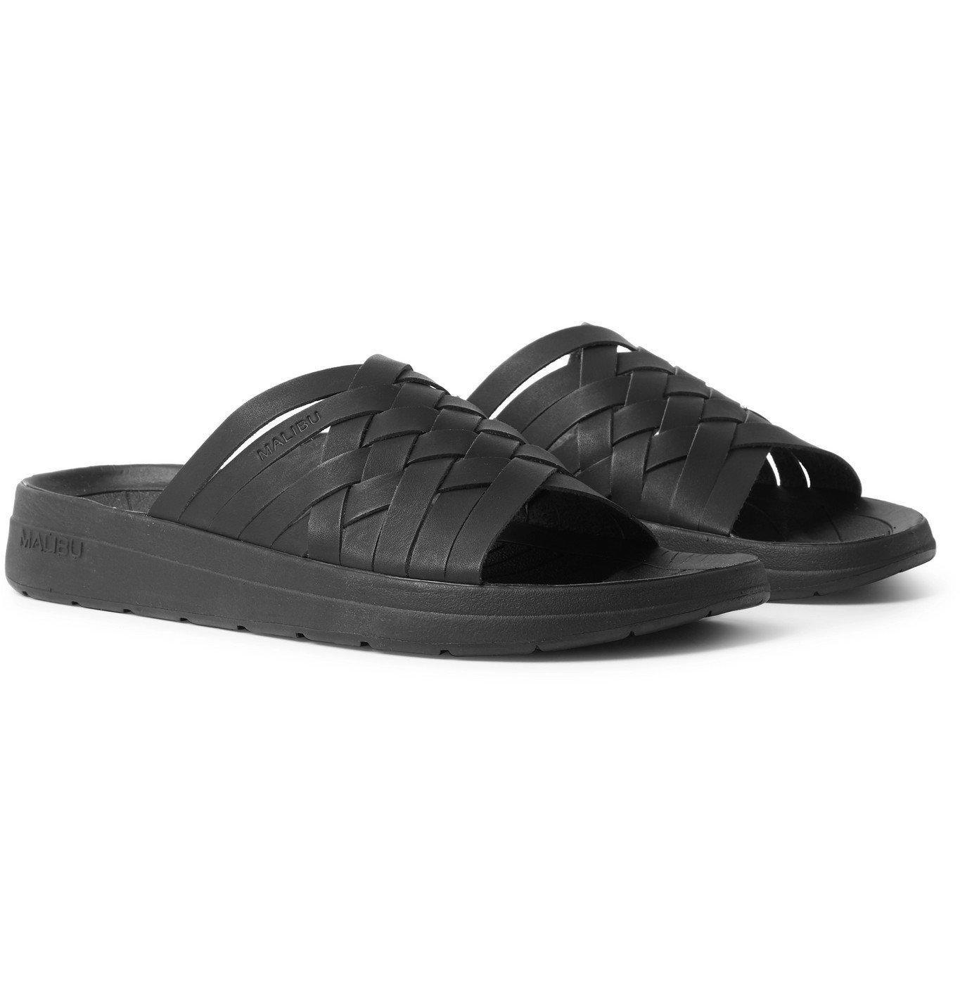 Photo: Malibu - Zuma Woven Faux Leather Slides - Black