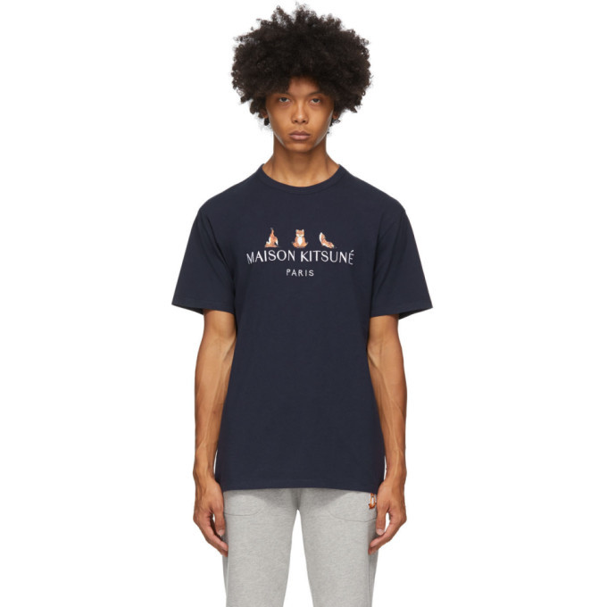 Photo: Maison Kitsune SSENSE Exclusive Navy 3 Yoga Foxes T-Shirt