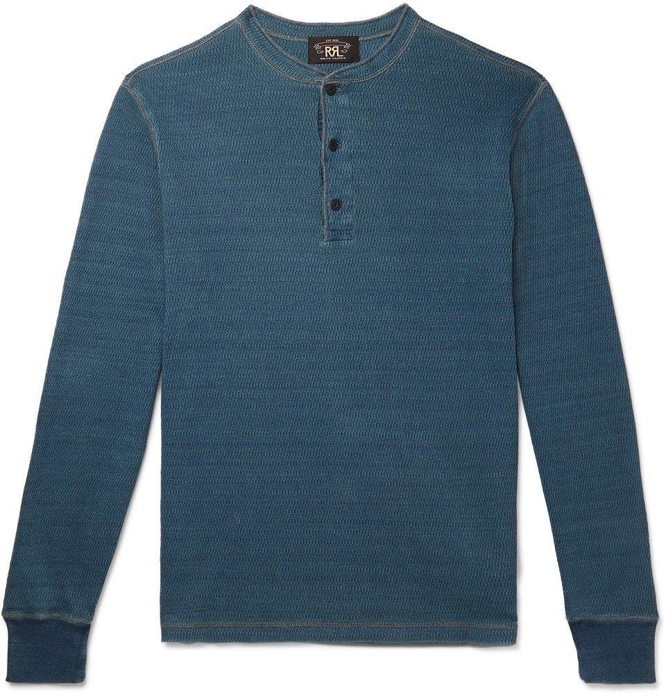 RRL - Slim-Fit Waffle-Knit Mélange Cotton Henley T-Shirt - Blue