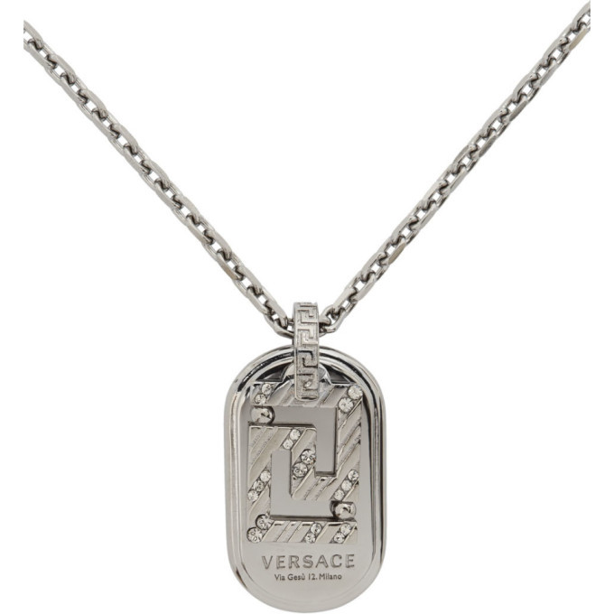 Versace Silver Greca Dogtag Necklace