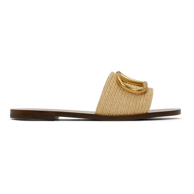 Photo: Valentino Beige Valentino Garavani Raffia VLogo Slip-On Sandals