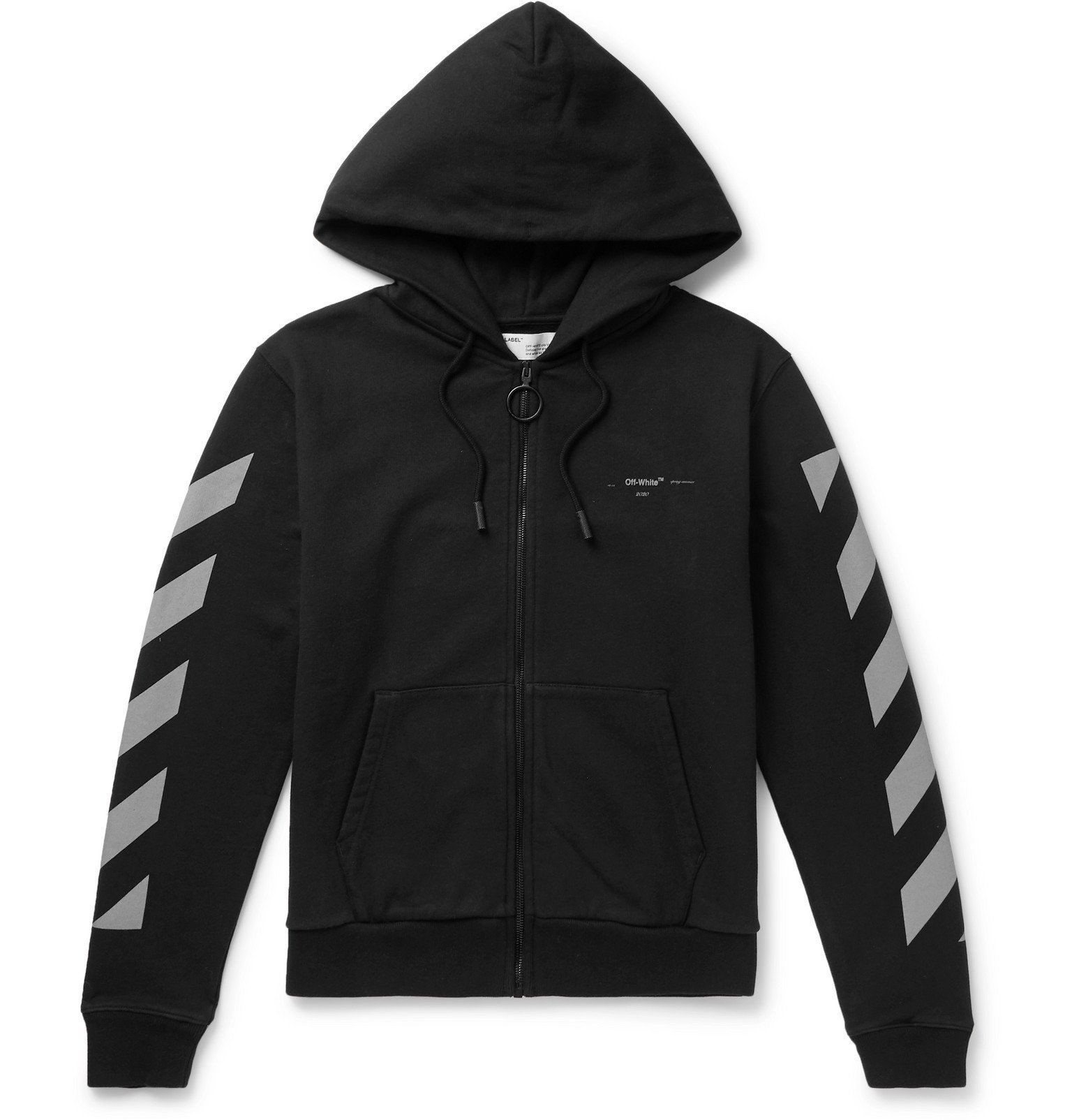 Photo: Off-White - Glow-In-The-Dark Printed Loopback Cotton-Jersey Hoodie - Black