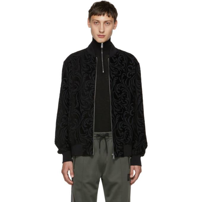 Photo: Versace Black Jacquard Brocade Bomber Jacket