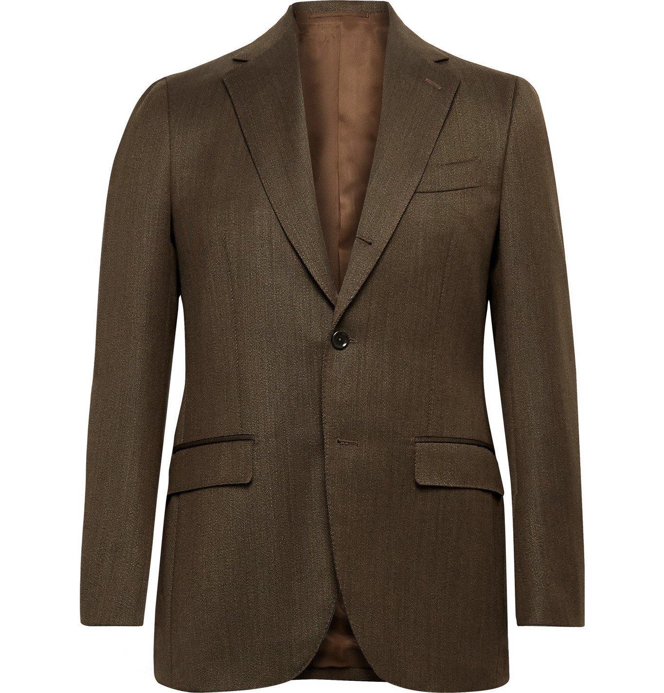 Photo: Beams F - Slim-Fit Wool-Twill Suit Jacket - Brown