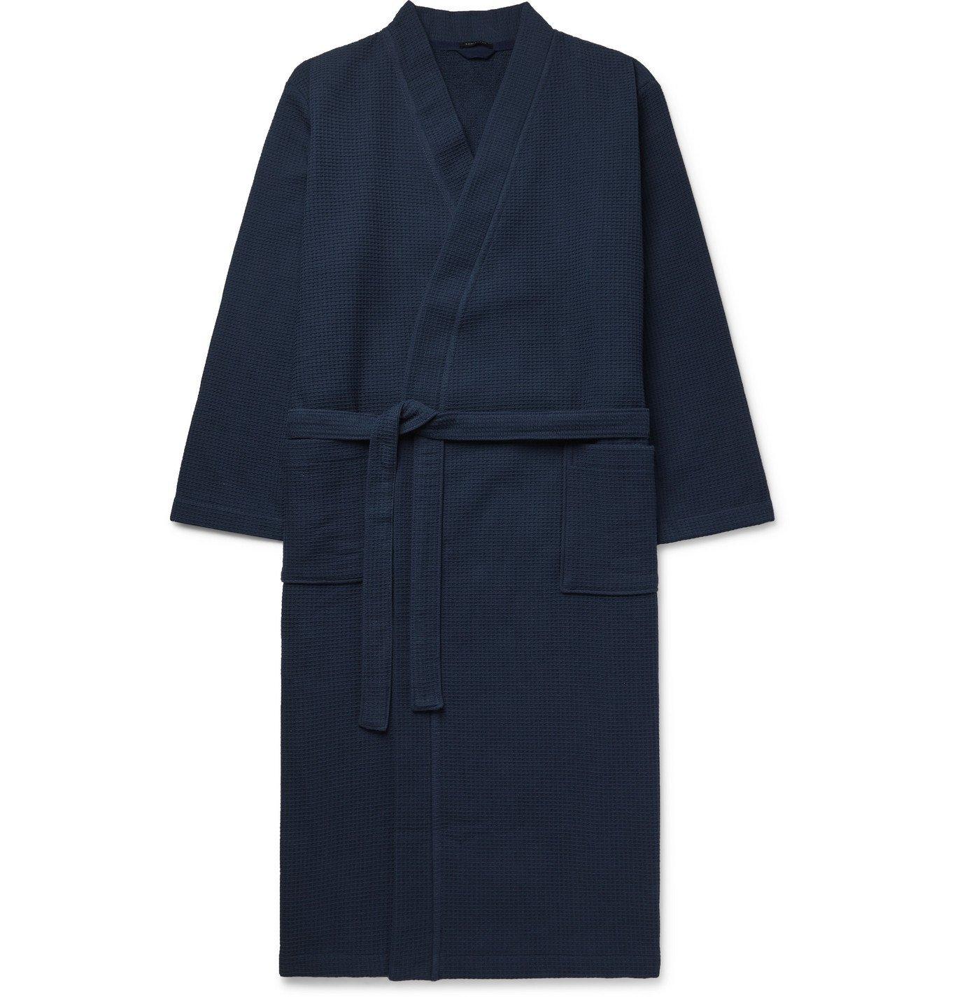 Photo: SCHIESSER - Waffle-Knit Cotton Robe - Blue