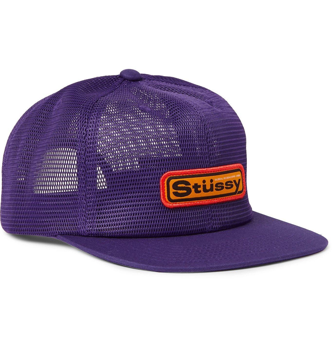 Photo: Stüssy - Logo-Appliquéd Mesh and Twill Baseball Cap - Purple