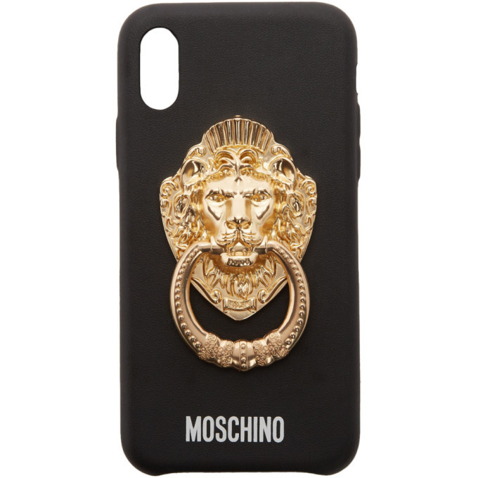 Photo: Moschino Black Lion Head Handle iPhone XS Case