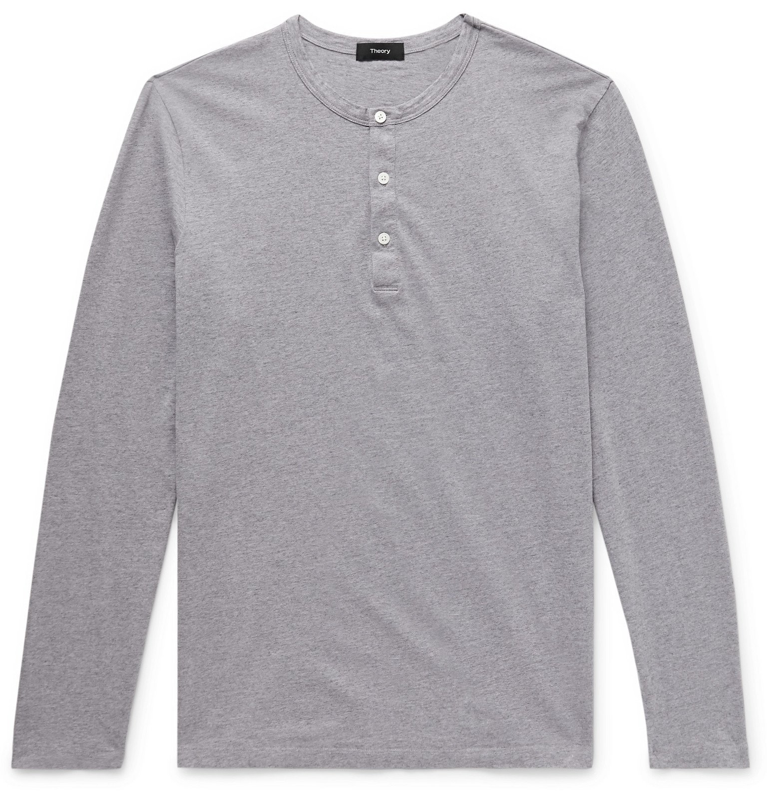 Photo: Theory - Mélange Cotton-Jersey Henley T-Shirt - Gray