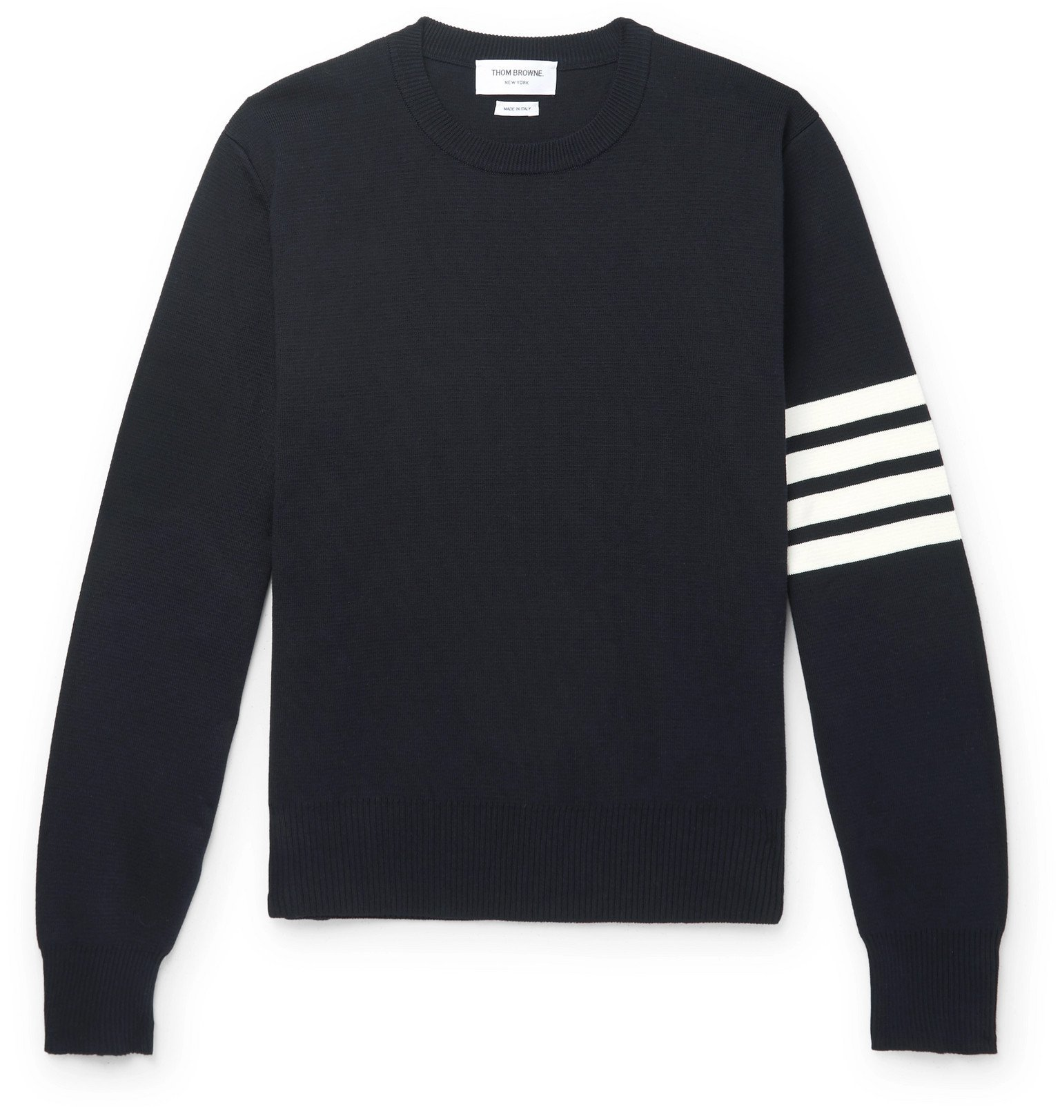 Photo: Thom Browne - Striped Grosgrain-Trimmed Cotton Sweater - Blue