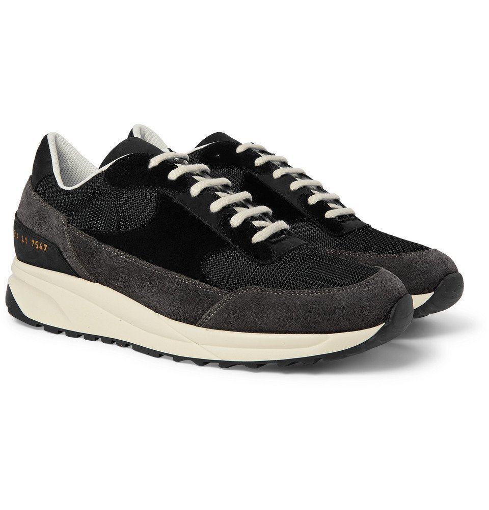 Common Projects - Track Classic Nubuck, Suede and Mesh Sneakers - Black