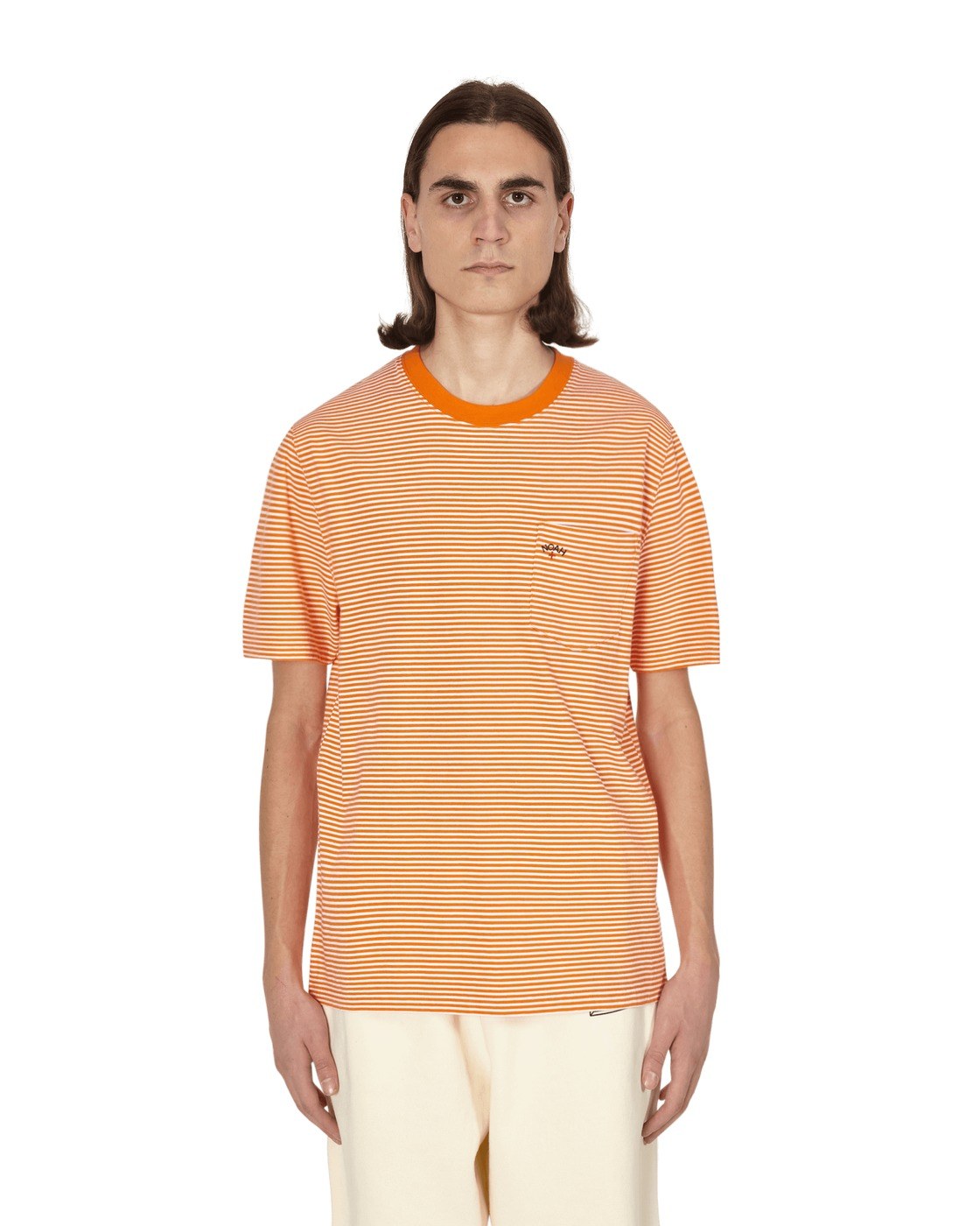Noah Stripe Pocket T Shirt Orange