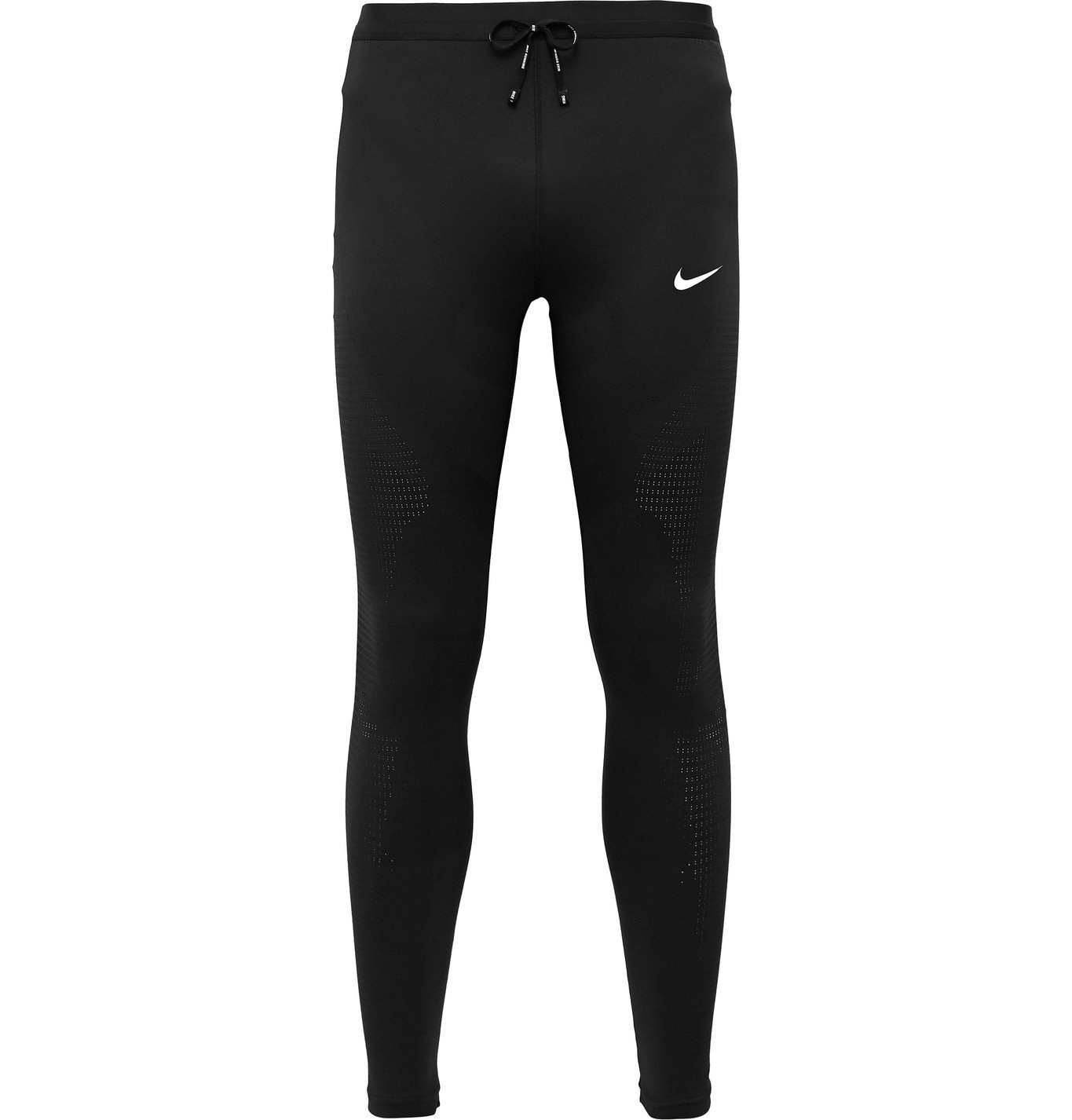 Nike Running - Logo-Print Perforated Stretch-Jersey Tights - Black