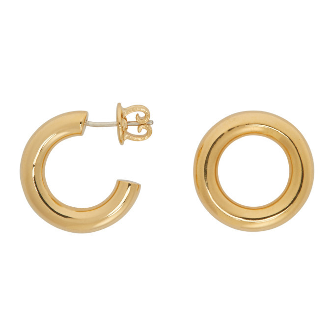 Photo: Numbering Gold Unbalanced Circle Earrings