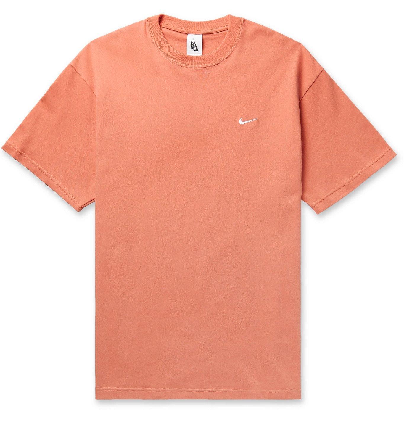 Photo: Nike - NRG Logo-Embroidered Cotton-Jersey T-Shirt - Orange