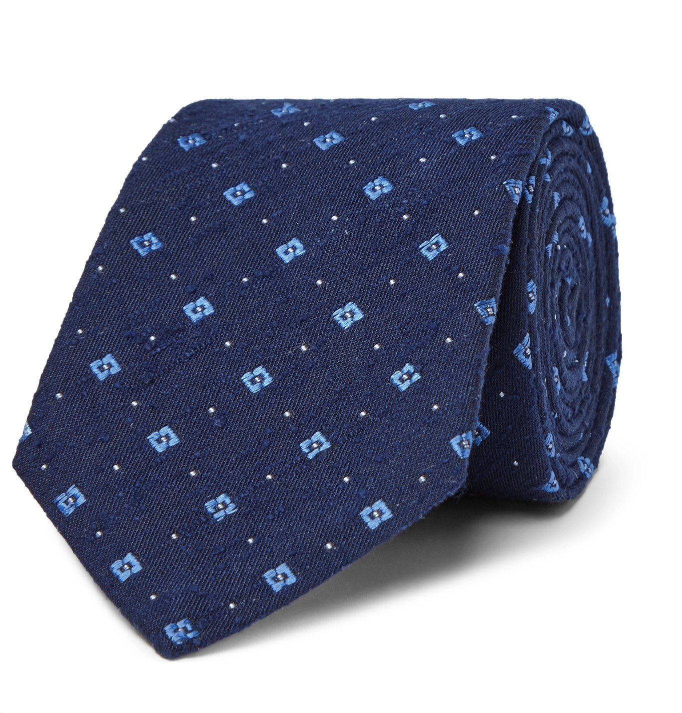 Photo: Turnbull & Asser - 8cm Slub Silk-Jacquard Tie - Blue