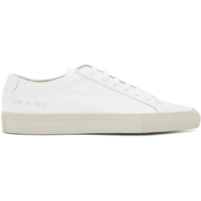 Common Projects White and Grey Achilles Low Sneakers