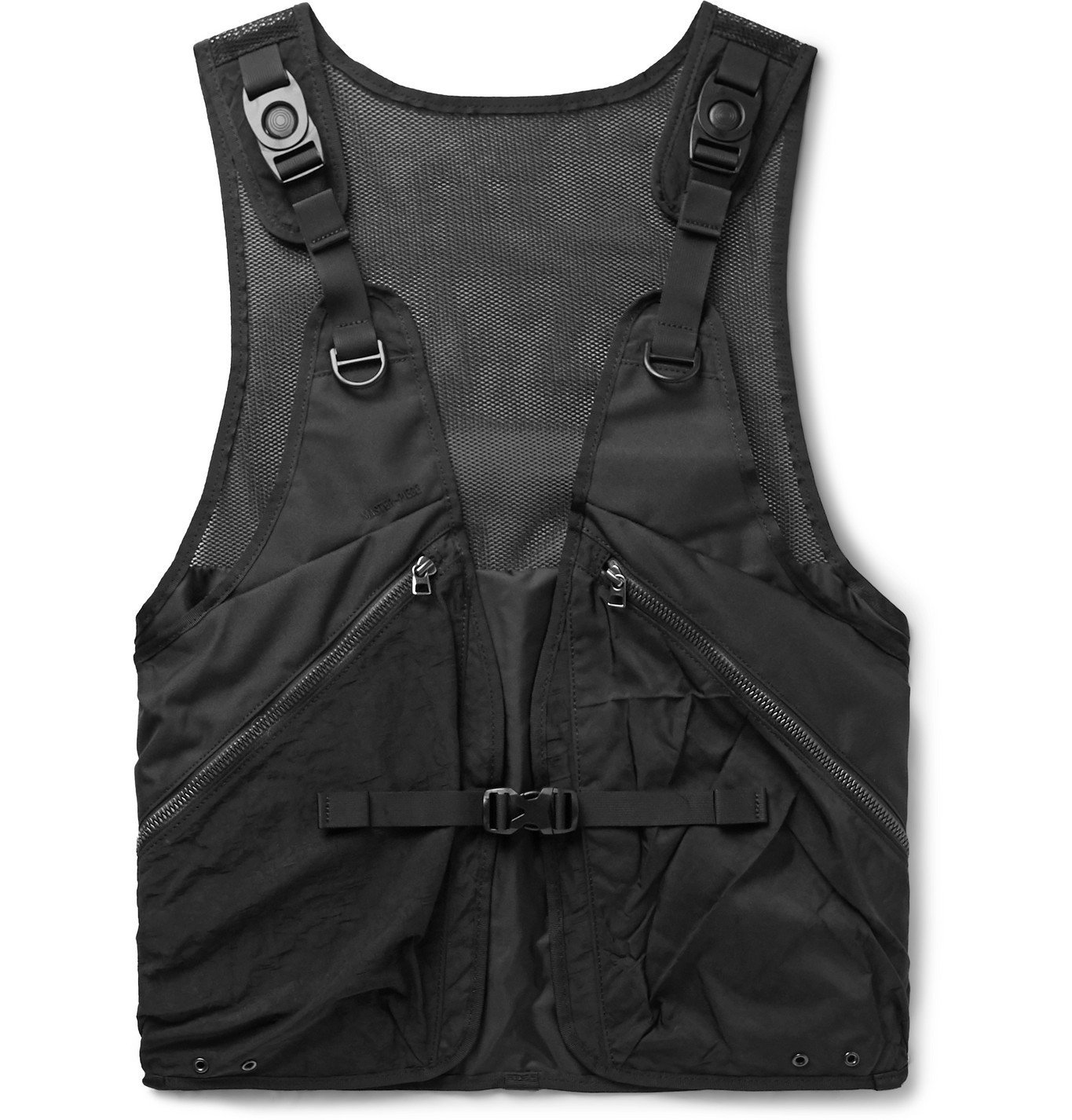 Photo: Master-Piece - Rebirth Project Grosgrain-Trimmed Mesh and Nylon Gilet - Black