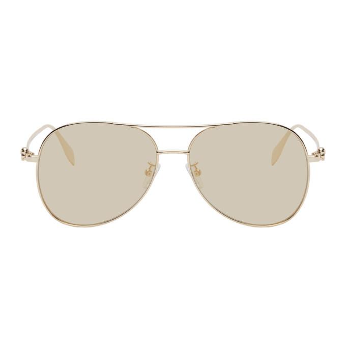 Photo: Alexander McQueen Gold Pilot Sunglasses