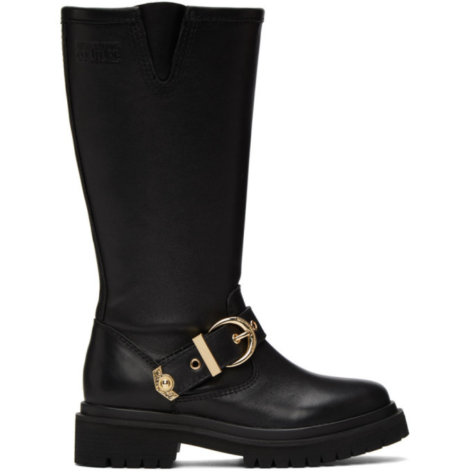 Photo: Versace Jeans Couture Black Rodeo Buckle Tall Boots