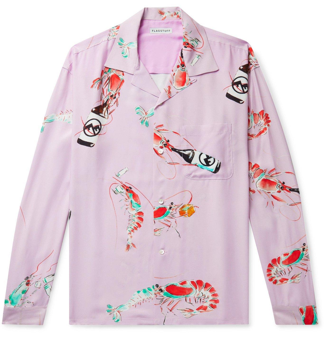 Photo: Flagstuff - Camp-Collar Printed Woven Shirt - Pink