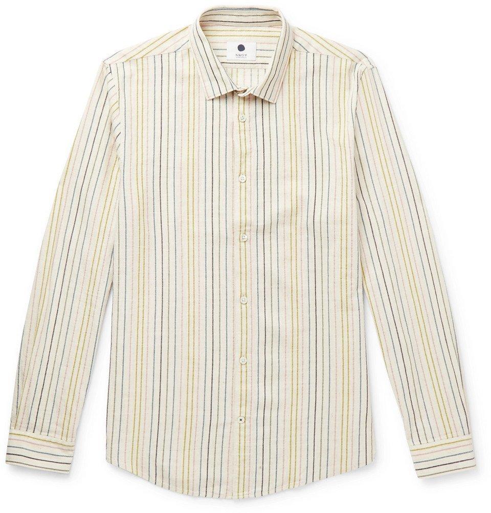 Photo: NN07 - Morgan Slim-Fit Striped Cotton, Linen and Lyocell-Blend Shirt - Neutral