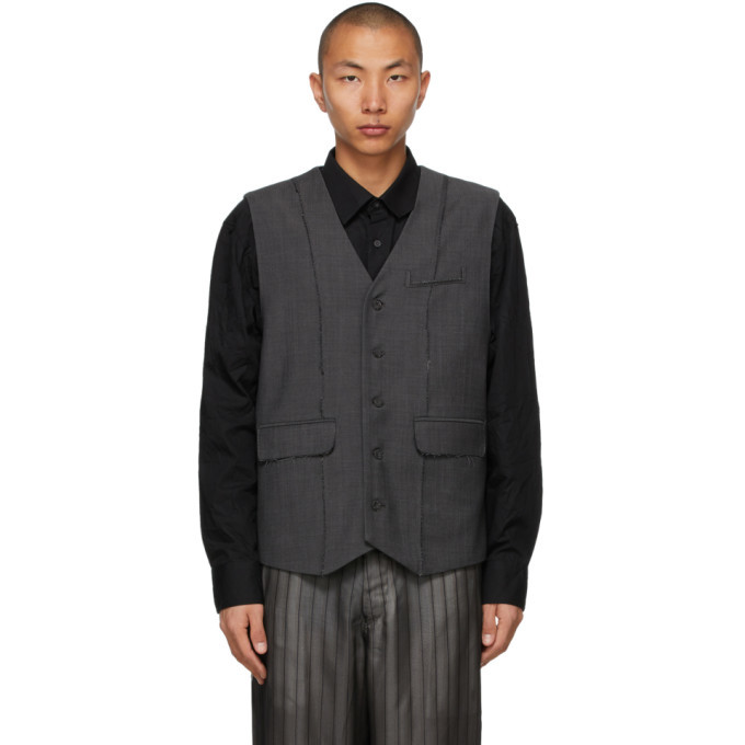 Photo: ADER error Grey Wool Herringbone Vest