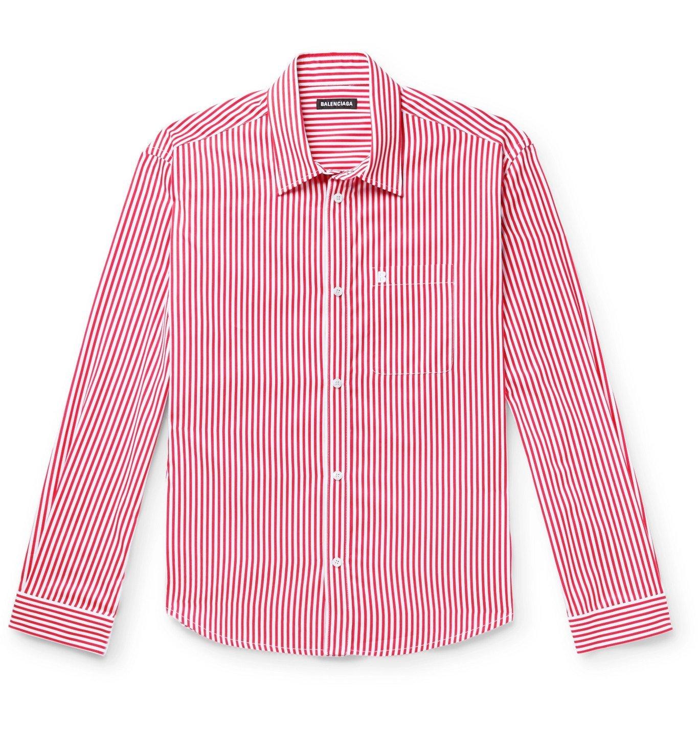 Photo: Balenciaga - Logo-Embroidered Striped Cotton-Poplin Shirt - Red