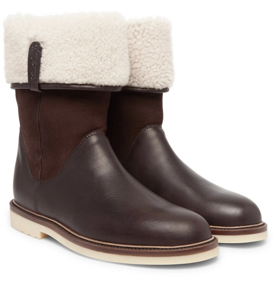Photo: Loro Piana - Snow Walk Shearling-Lined Leather And Suede Boots - Men - Brown
