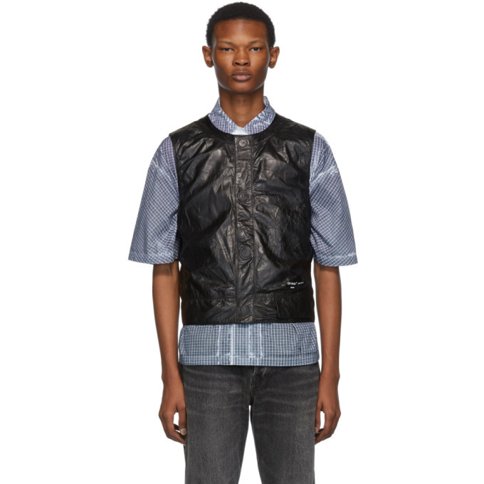 Photo: Off-White Black Leather Waistcoat Vest