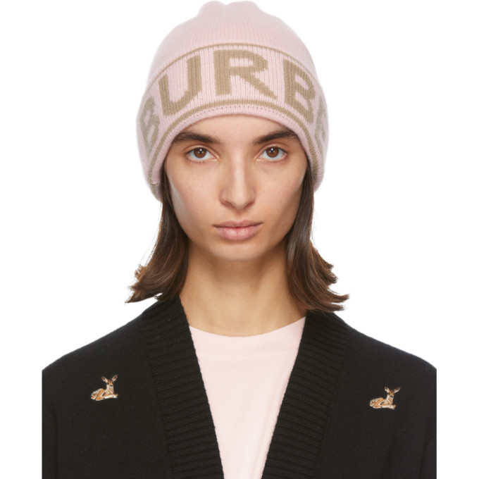 Photo: Burberry Pink Cashmere Logo Beanie