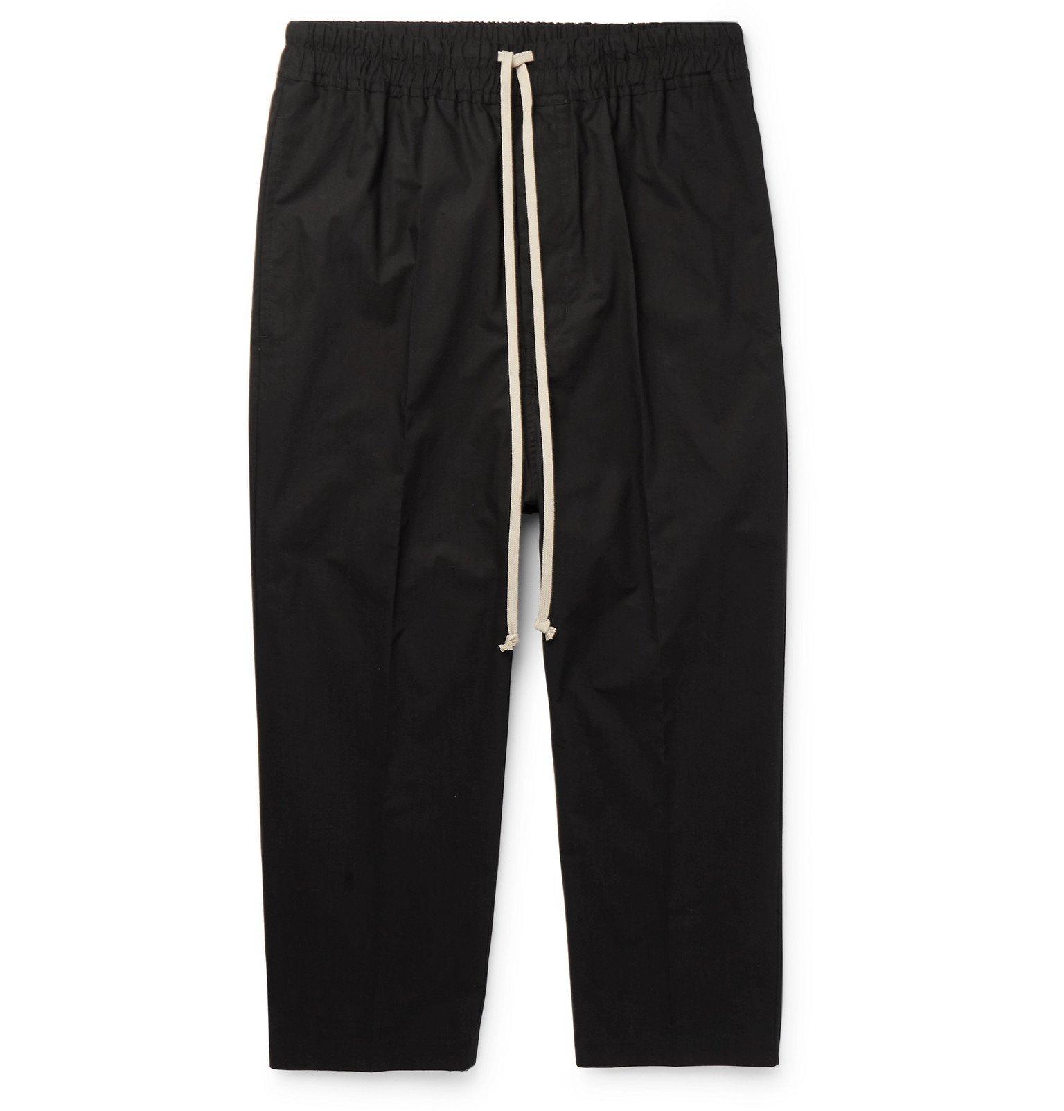 Rick Owens - Cropped Cotton-Poplin Drawstring Trousers - Black