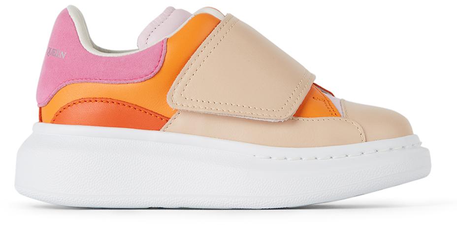 Photo: Alexander McQueen Kids Pink & Orange Velcro Molly Oversized Sneakers