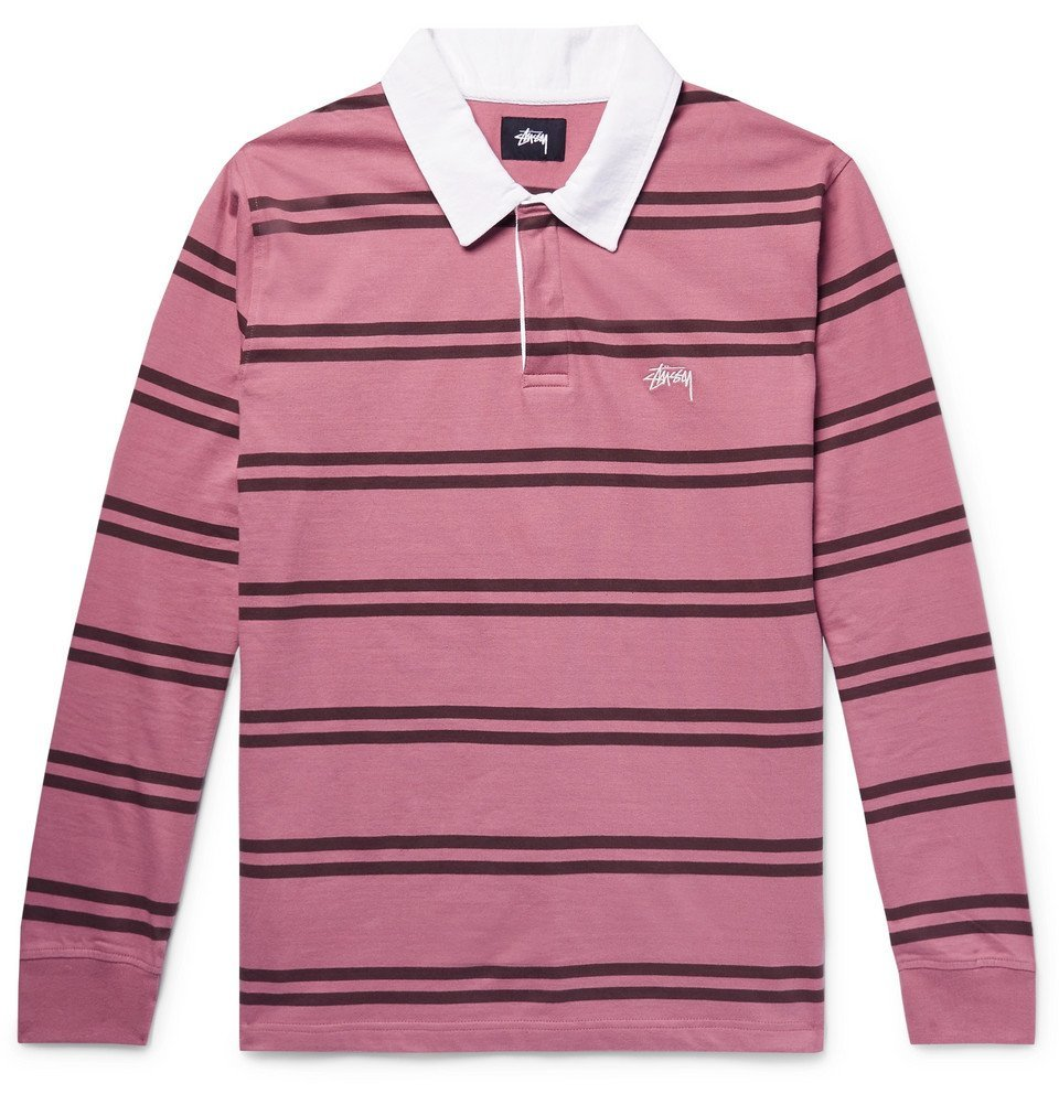 Photo: Stüssy - Striped Cotton-Jersey Polo Shirt - Pink