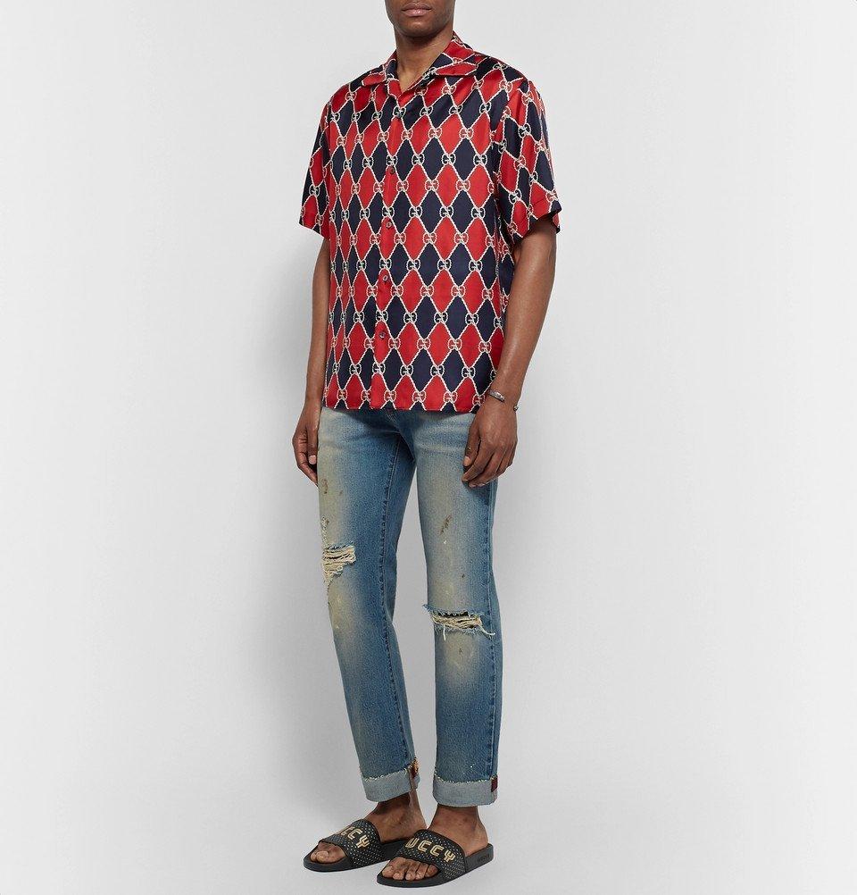 897e04f1e44e Gucci - Leather-Trimmed Logo-Print Rubber Slides - Men - Black Gucci