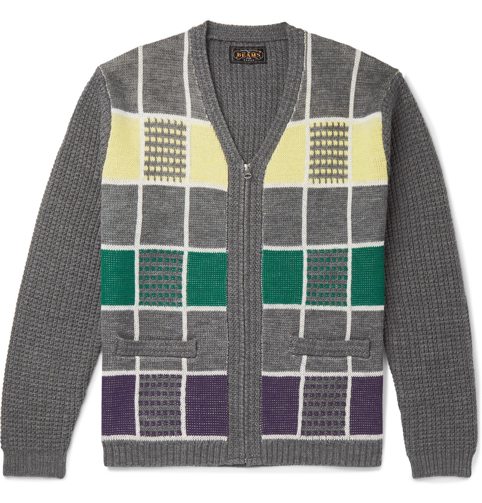 Photo: Beams Plus - Checked Wool Zip-Up Cardigan - Gray