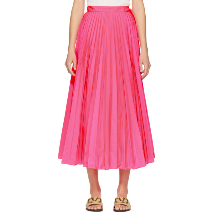 Photo: Valentino Pink Pleated Waist-Tie Skirt