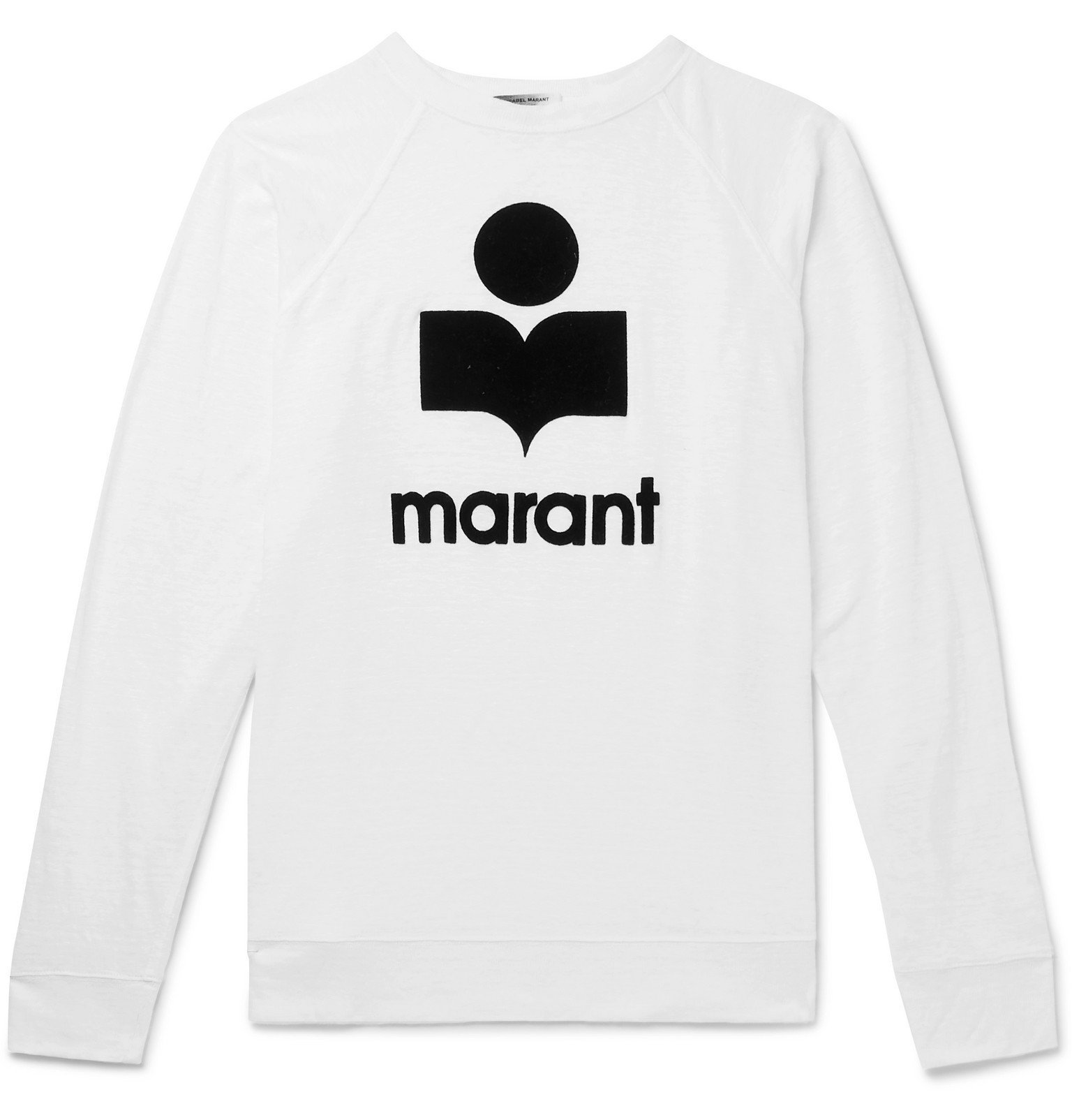 Photo: Isabel Marant - Kieffer Logo-Flocked Linen-Jersey T-Shirt - White