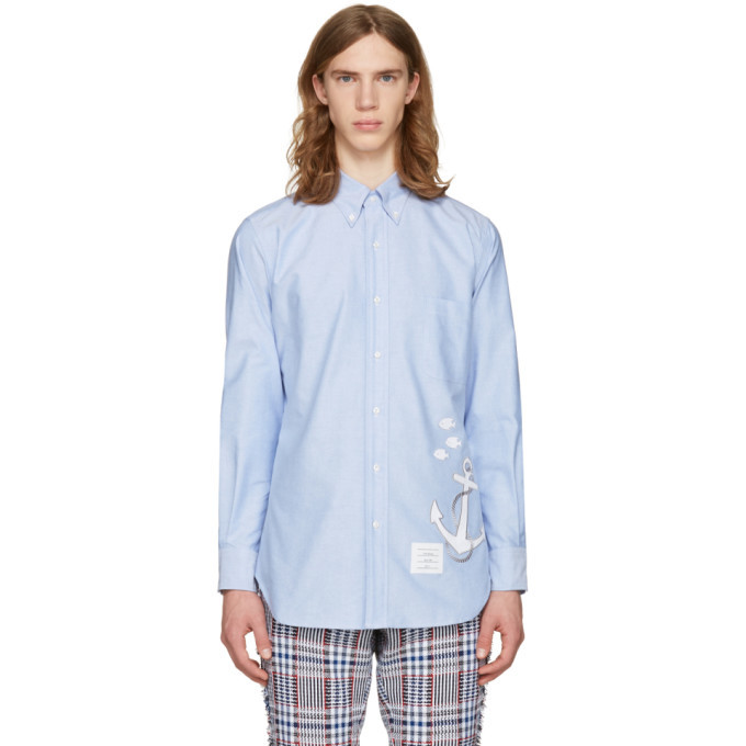 Photo: Thom Browne Blue Anchor and Fish Classic Shirt