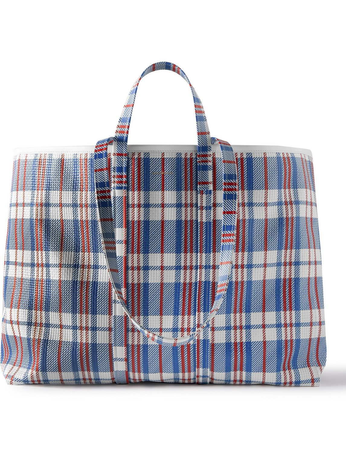 Photo: Balenciaga - Barbes Embossed Checked Leather Tote Bag