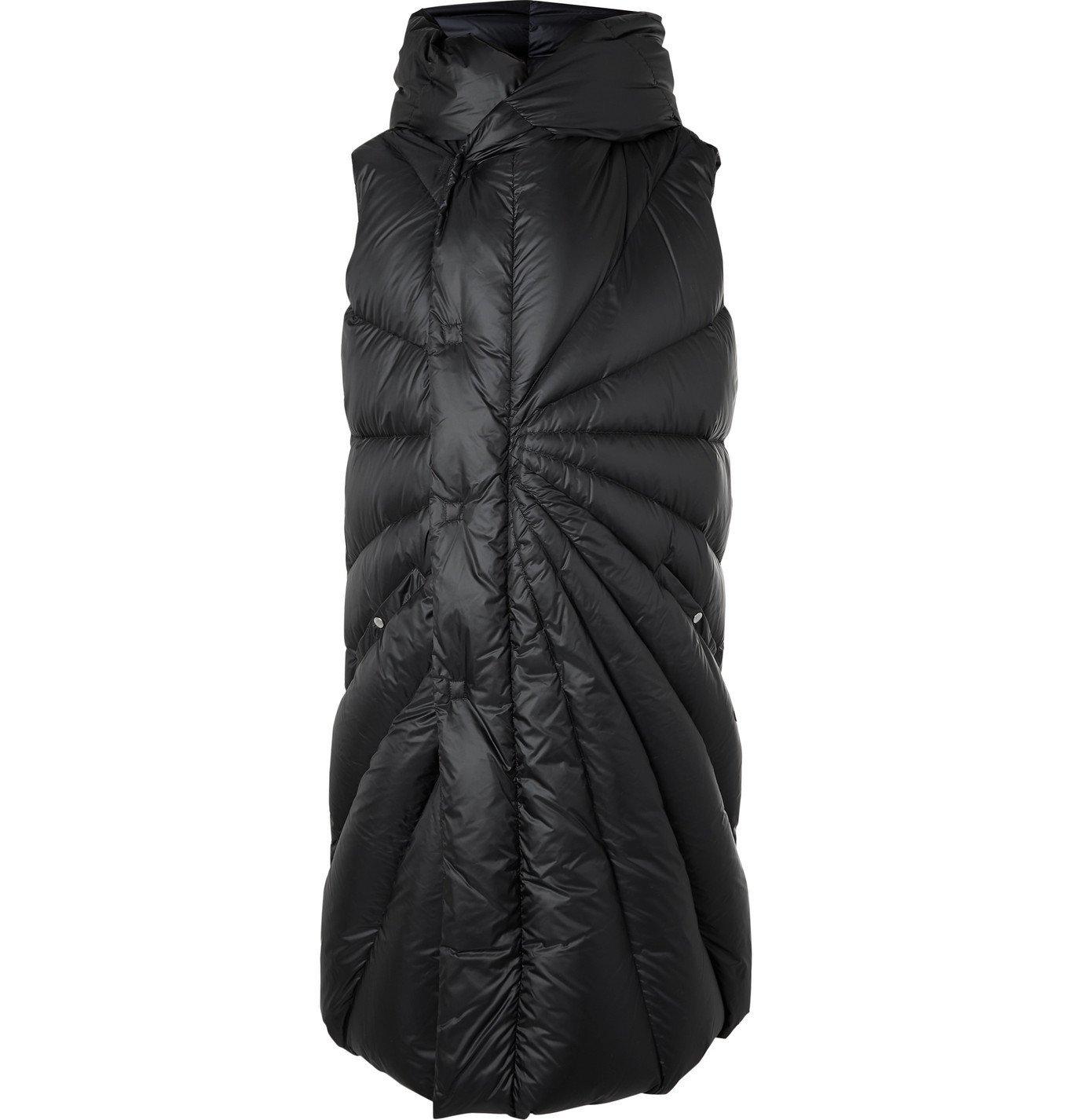 Photo: Rick Owens - Moncler Porterville Oversized Logo-Appliquéd Hooded Shell Down Gilet - Black