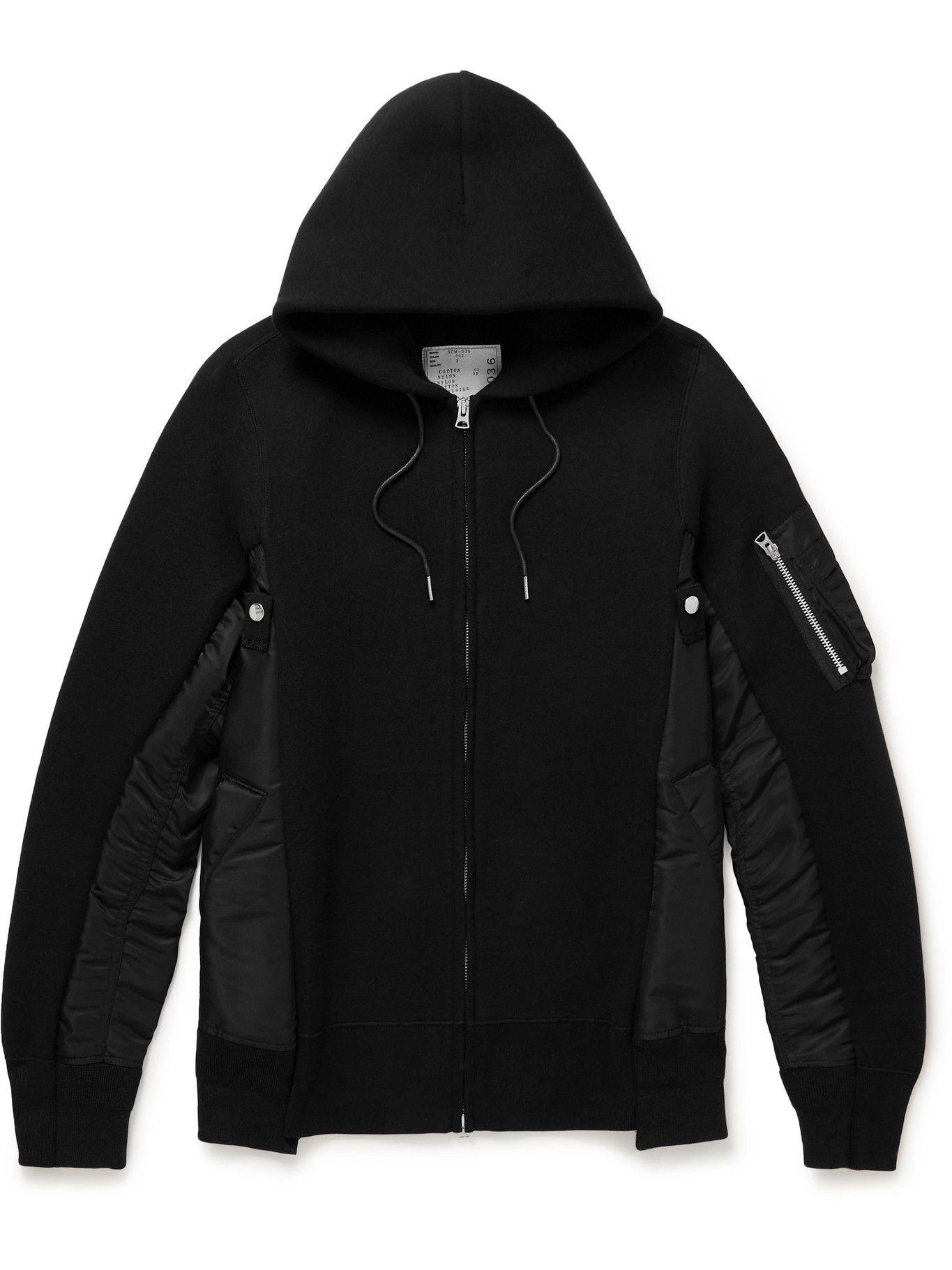 Photo: Sacai - Nylon-Trimmed Cotton-Blend Jersey Zip-Up Hoodie - Black