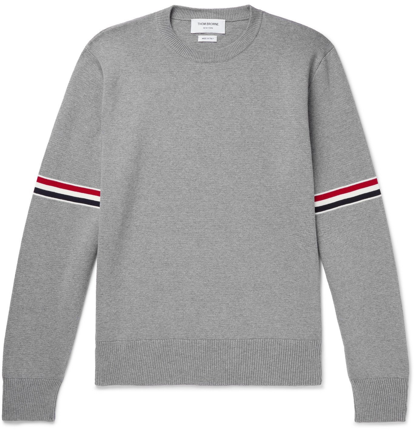 THOM BROWNE - Slim-Fit Striped Cotton Sweater - Gray