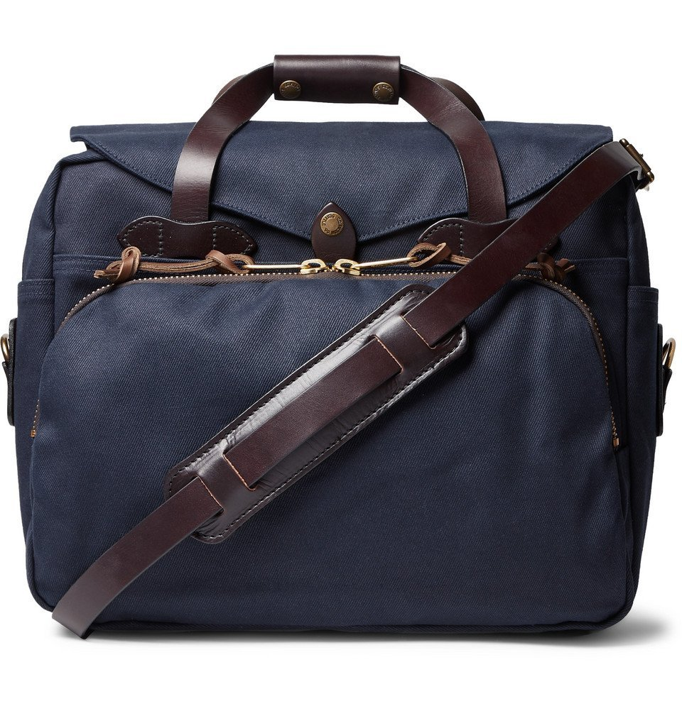 Filson - Leather-Trimmed Twill Briefcase - Navy