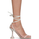 Amina Muaddi Grey Water Snake Vita Sandals