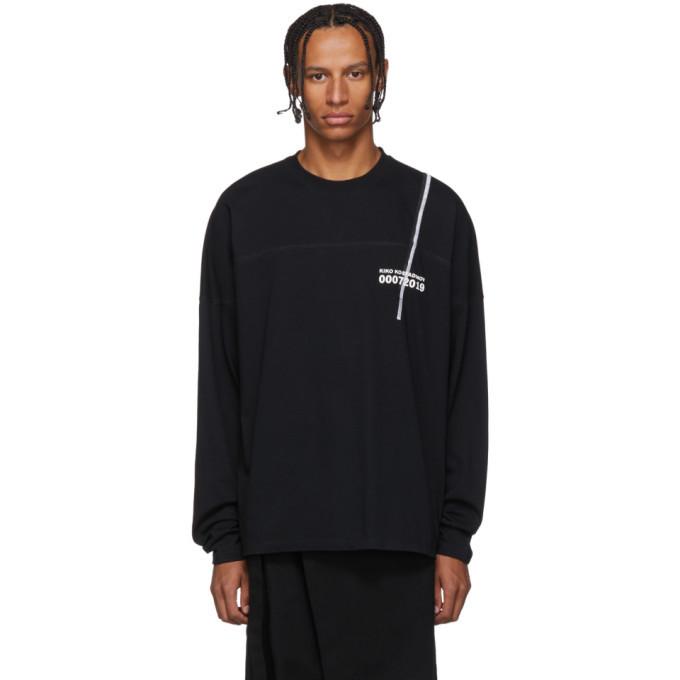 Photo: Kiko Kostadinov Black 007 Graphic Embroidery Long Sleeve T-Shirt