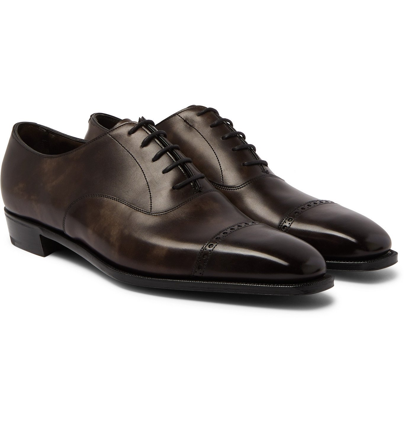 Photo: George Cleverley - Nakagawa Burnished-Leather Oxford Shoes - Brown