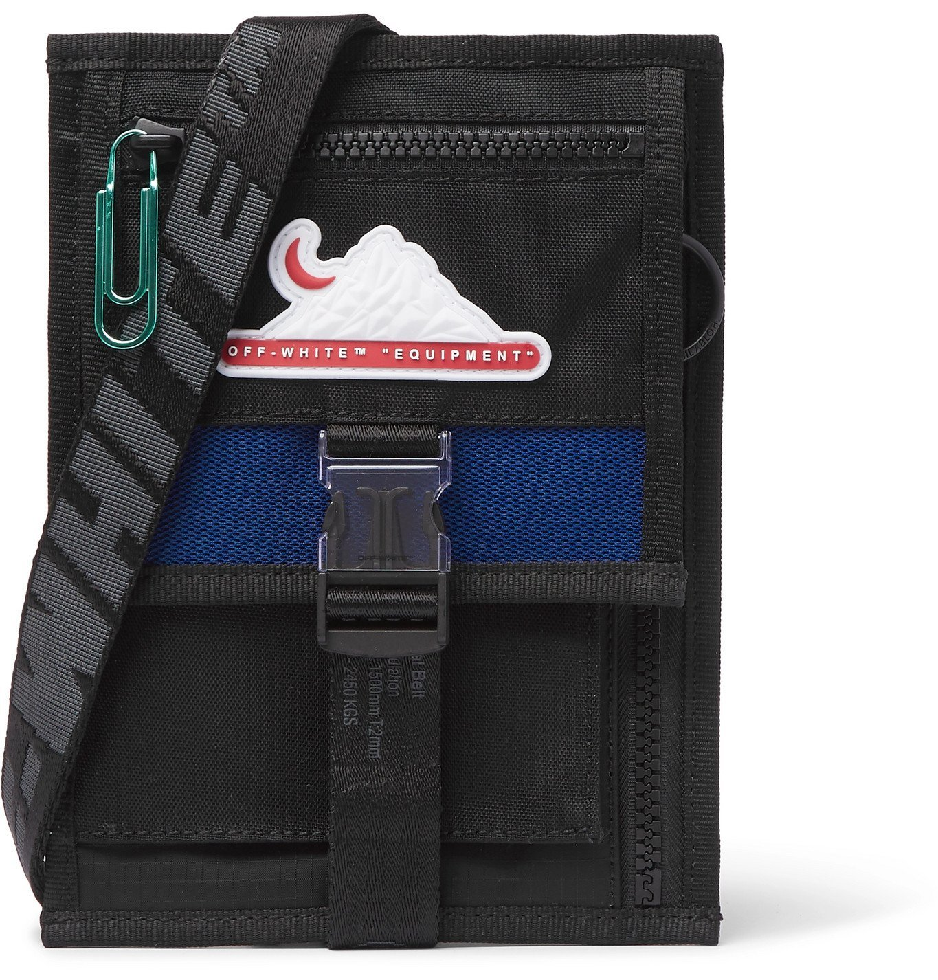 Photo: Off-White - Mesh-Trimmed Canvas and Shell Messenger Bag - Black