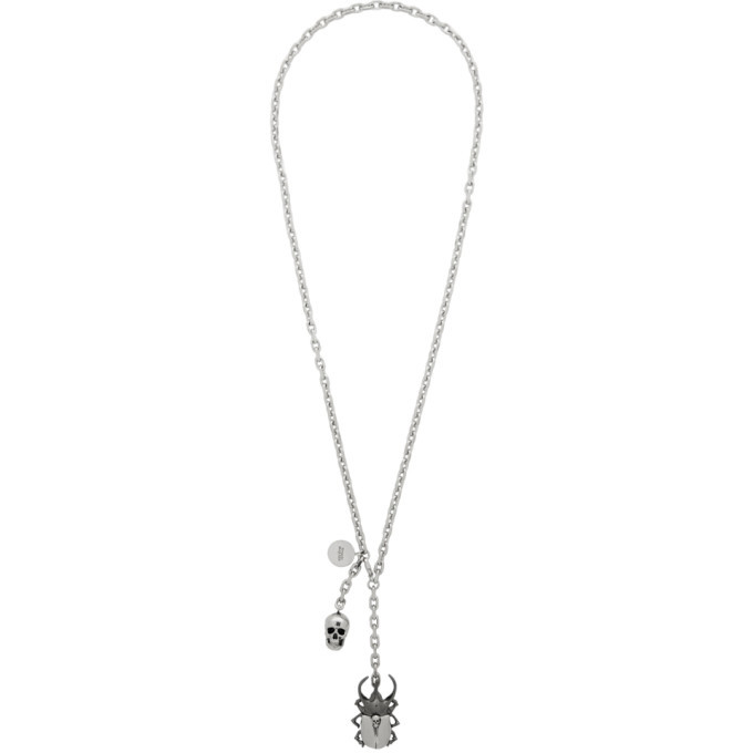 Photo: Alexander McQueen Silver Beetle and Skull Necklace