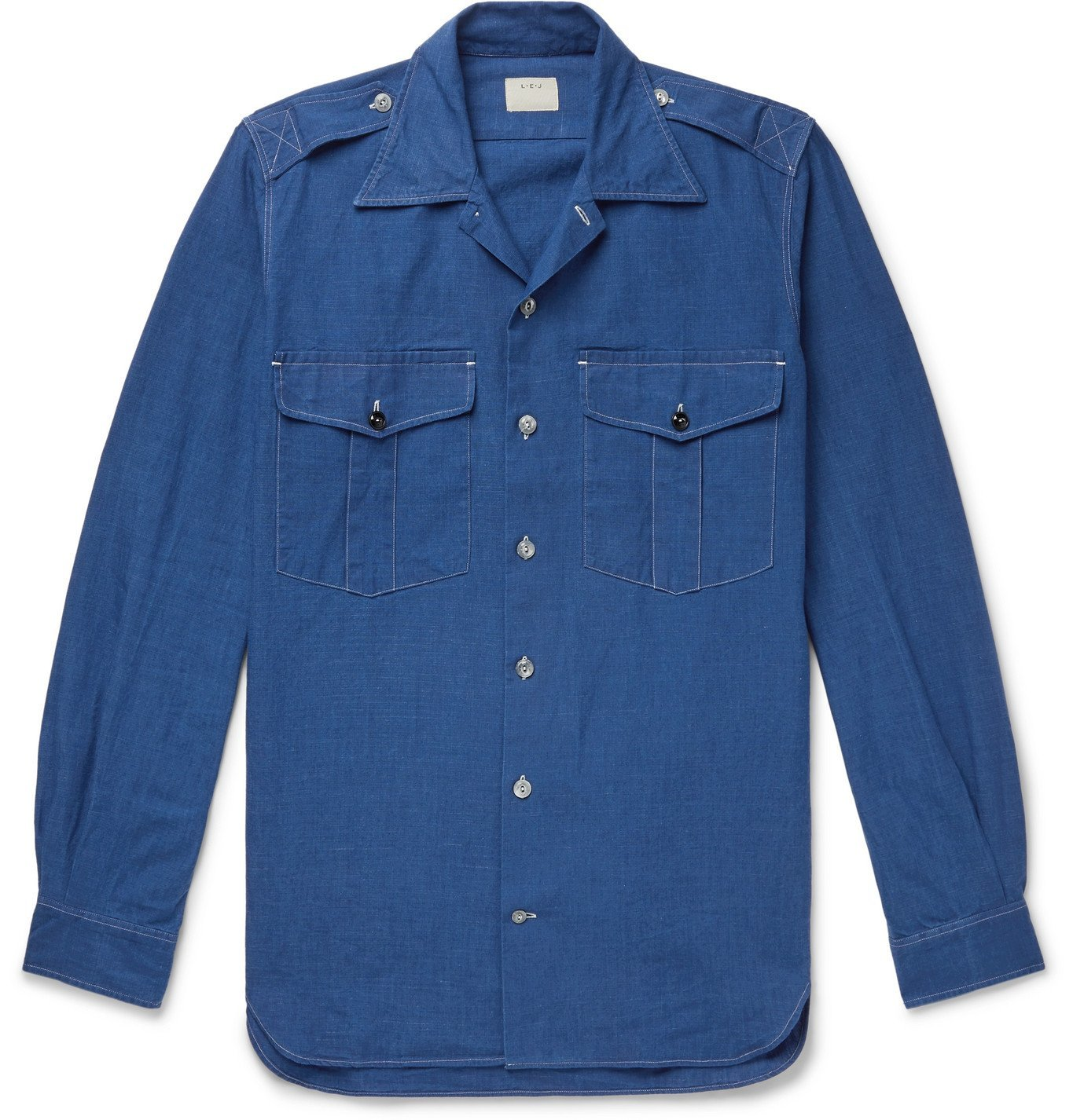 Photo: L.E.J - Convertible-Collar Selvedge Cotton-Chambray Shirt - Blue