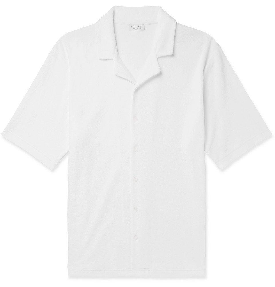 Sunspel - Camp-Collar Cotton-Terry Shirt - White